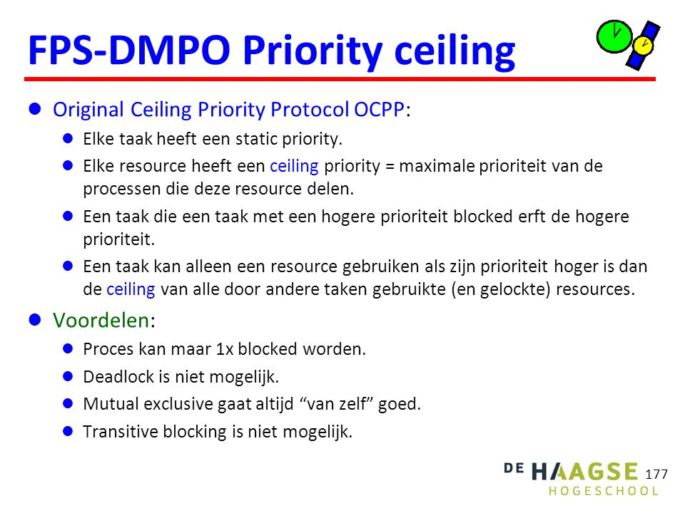 OCPP voorbeeld ceiling Q = 4 ceiling V = 4 taak prio execution