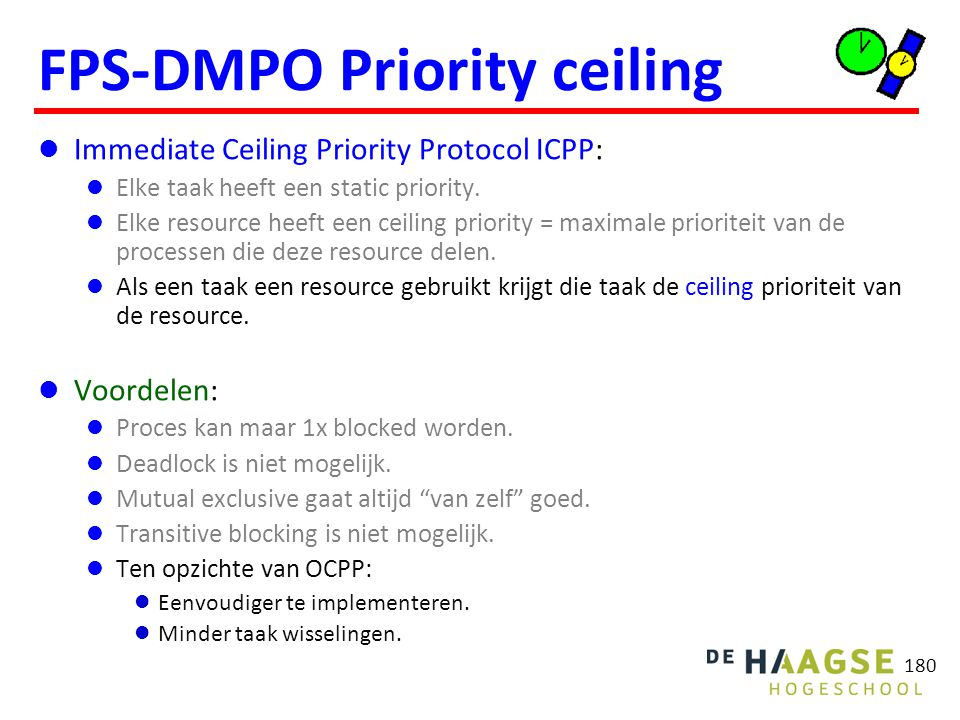 ICPP voorbeeld ceiling Q = 4 ceiling V = 4 taak prio execution