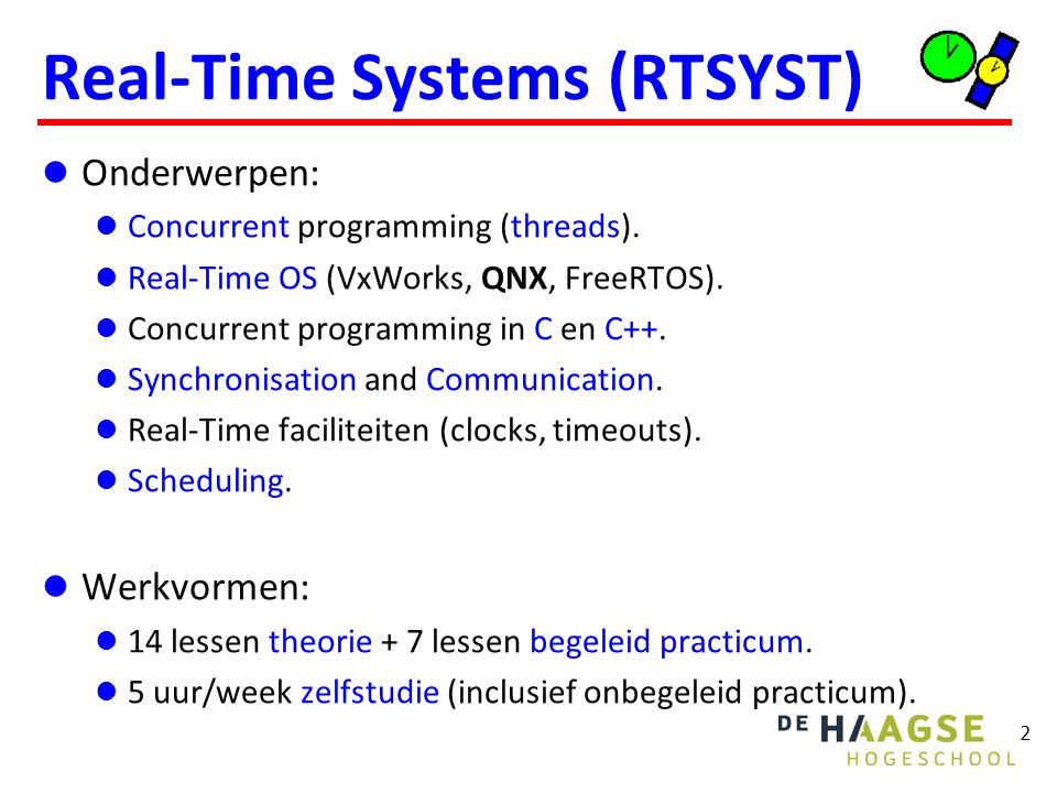 Leermiddelen Boeken Blackboard en http://bd.eduweb.hhs.nl/rtsyst/