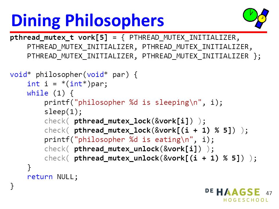 Dining Philosophers Dit programma kan vastlopen (deadlock)!