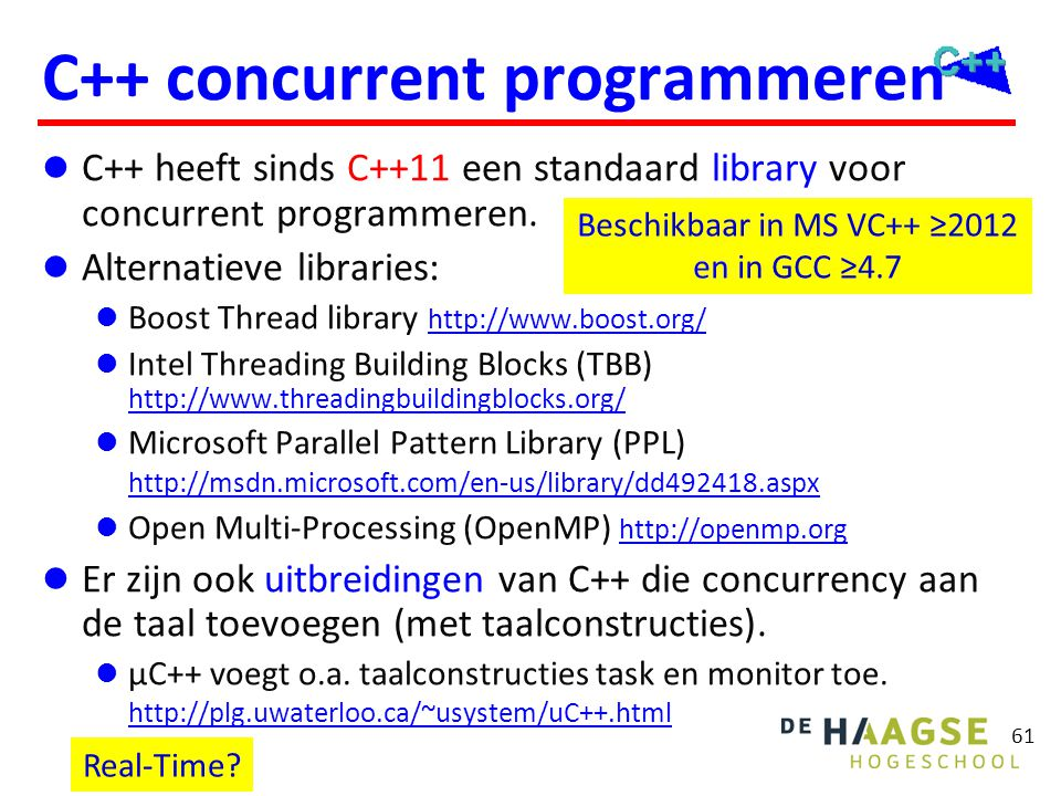 C++11 concurrency Threads Synchronisatie Asynchrone taken en Futures
