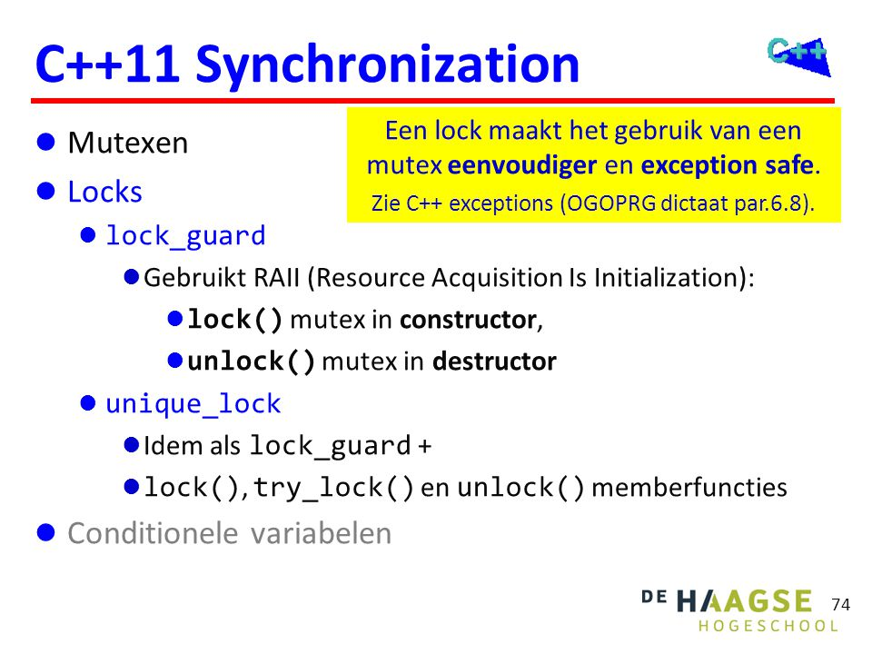 C++11 Lock voorbeeld class Point { public: Point(): x(0), y(0) { }