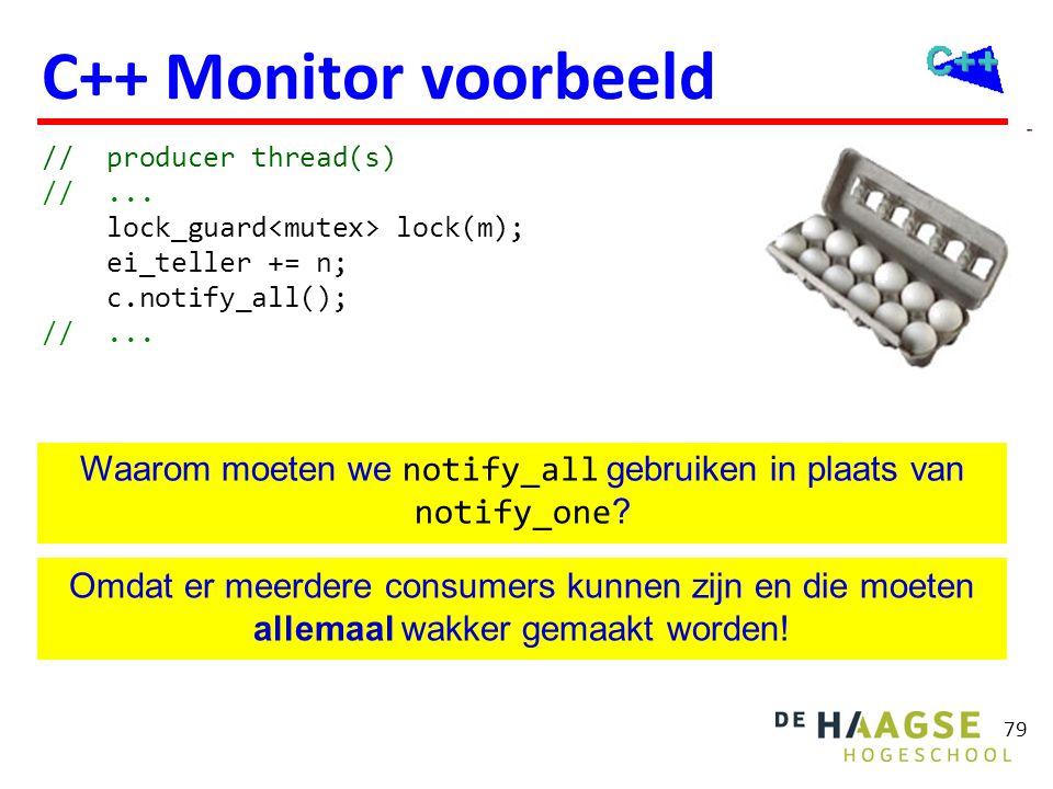 Monitor voorbeeld while (ei_teller < 12) c.wait(lock);