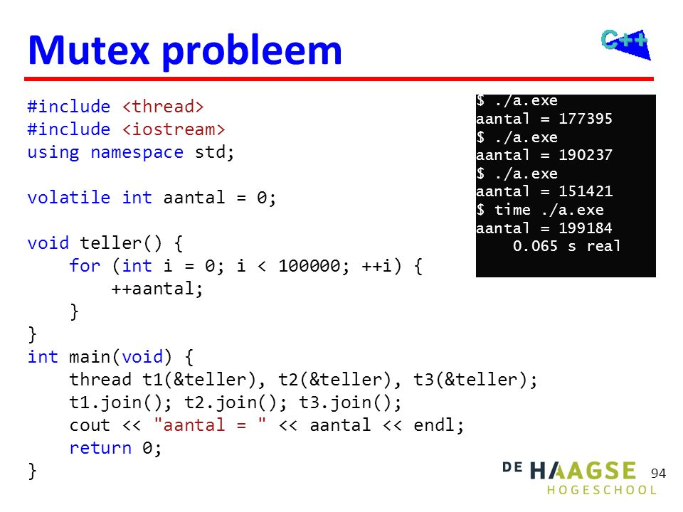 Mutex oplossing mutex #include <thread> #include <mutex>