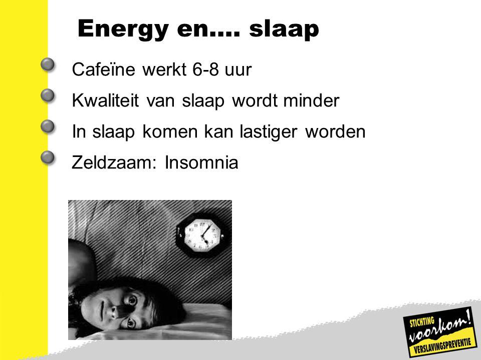 Energy en…. slaap Cafeïne werkt 6-8 uur