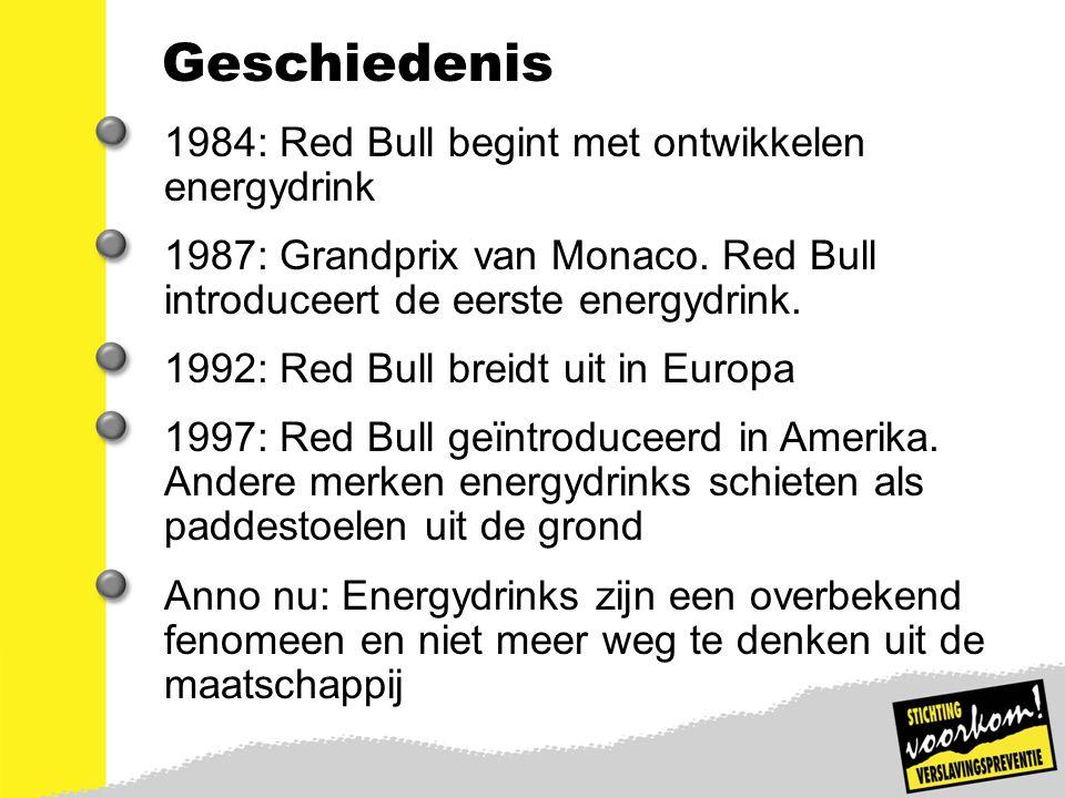 Geschiedenis 1984: Red Bull begint met ontwikkelen energydrink