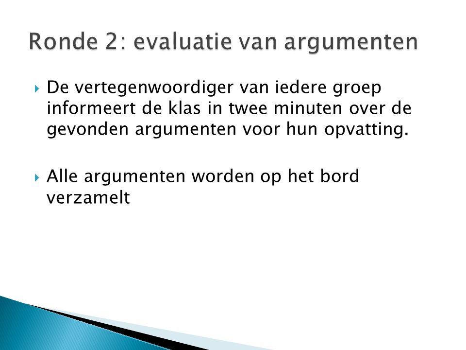 Ronde 2: evaluatie van argumenten