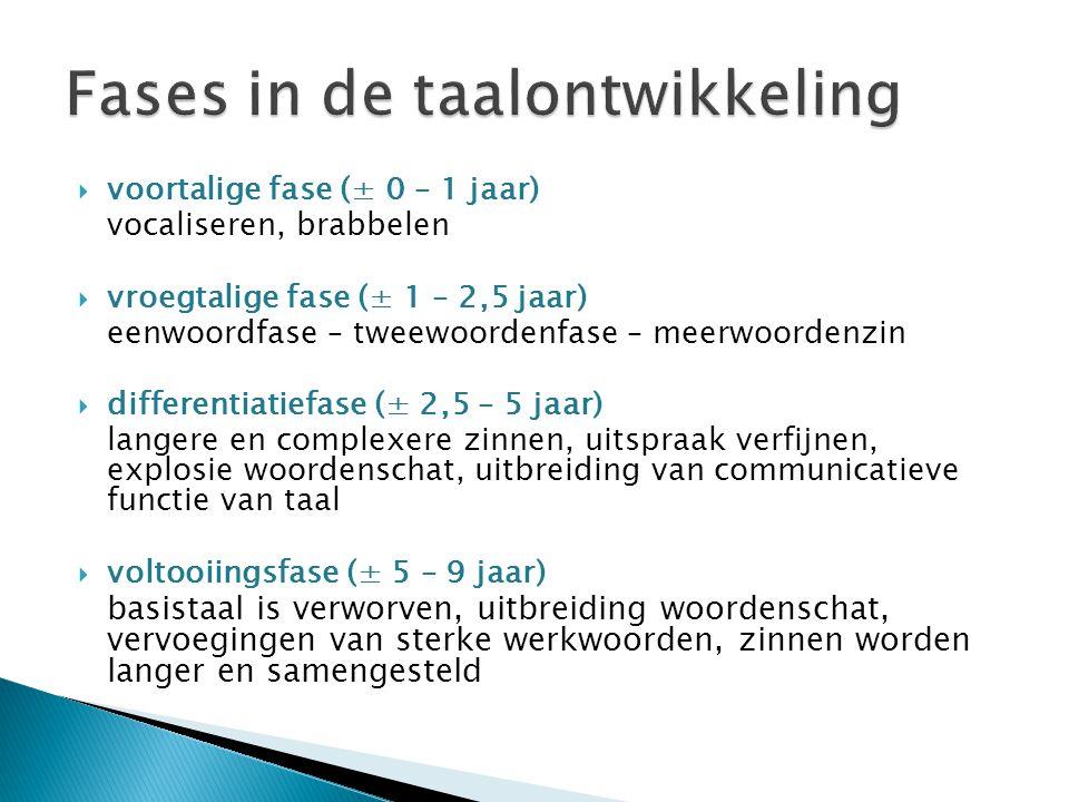 Fases in de taalontwikkeling