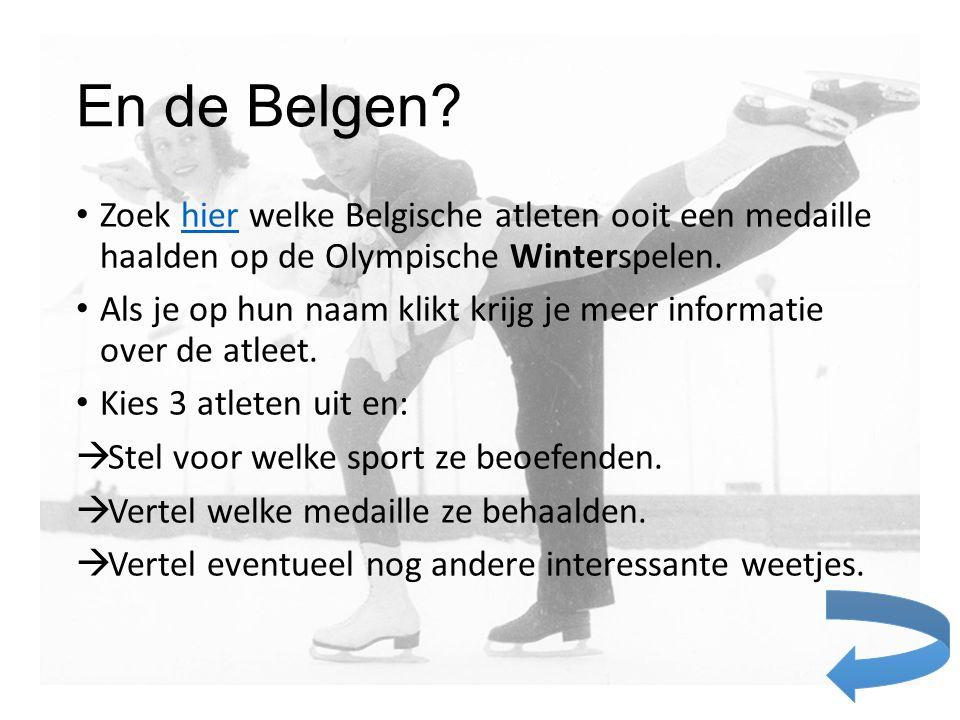 En de Belgen Zoek hier welke Belgische atleten ooit een medaille haalden op de Olympische Winterspelen.