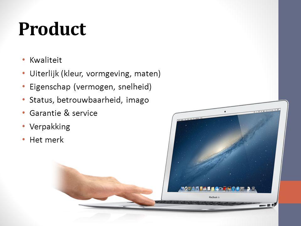 Product Kwaliteit Uiterlijk (kleur, vormgeving, maten)