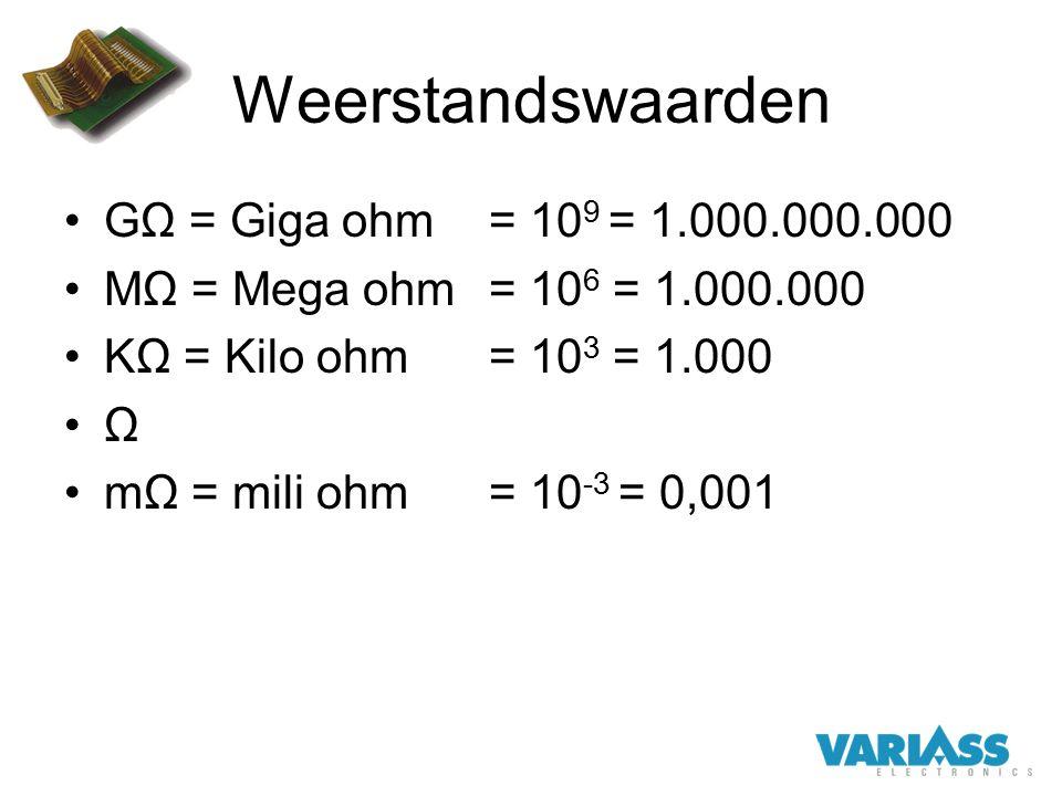Weerstandswaarden GΩ = Giga ohm = 109 = 1.000.000.000