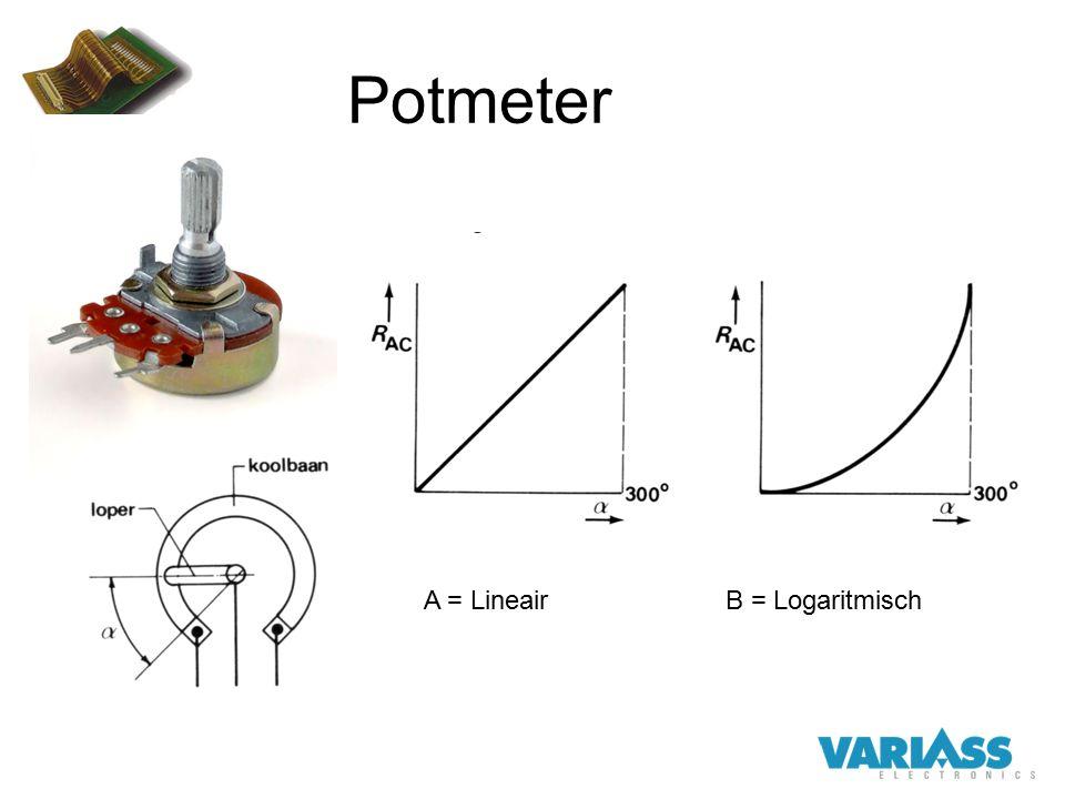 Potmeter A = Lineair B = Logaritmisch