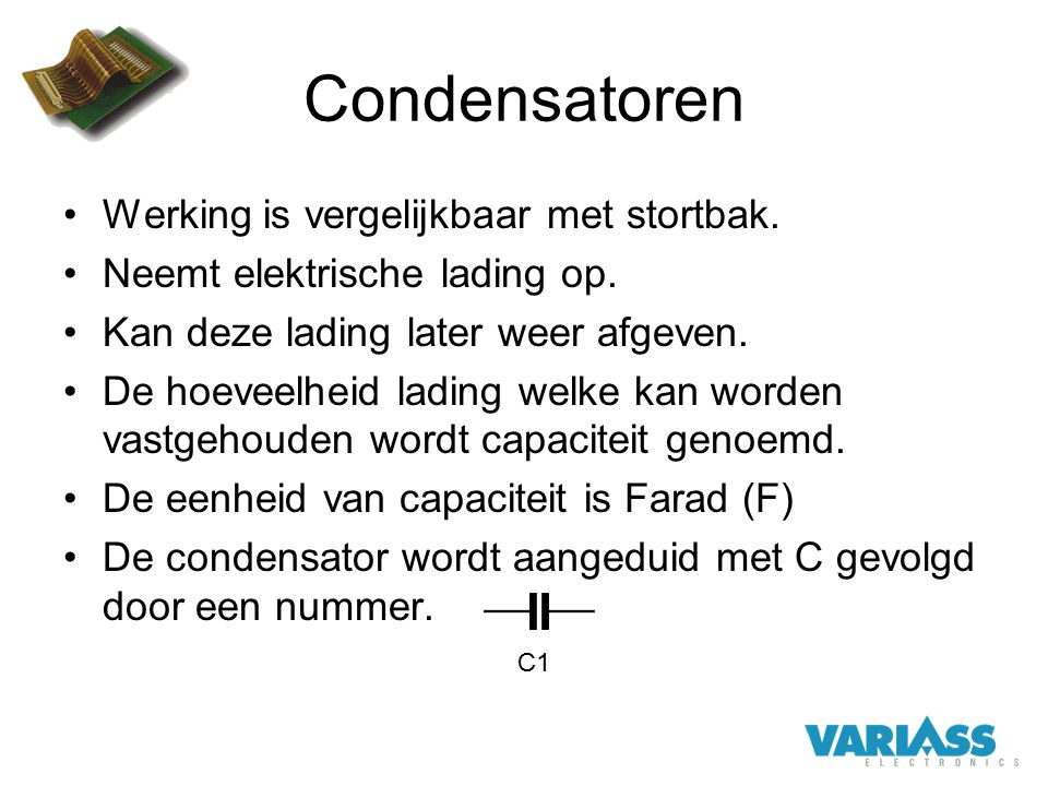 Condensatoren Werking is vergelijkbaar met stortbak.