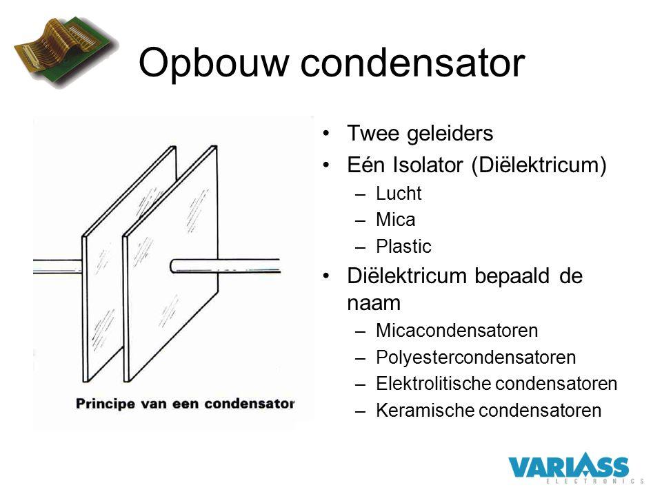 Opbouw condensator Twee geleiders Eén Isolator (Diëlektricum)