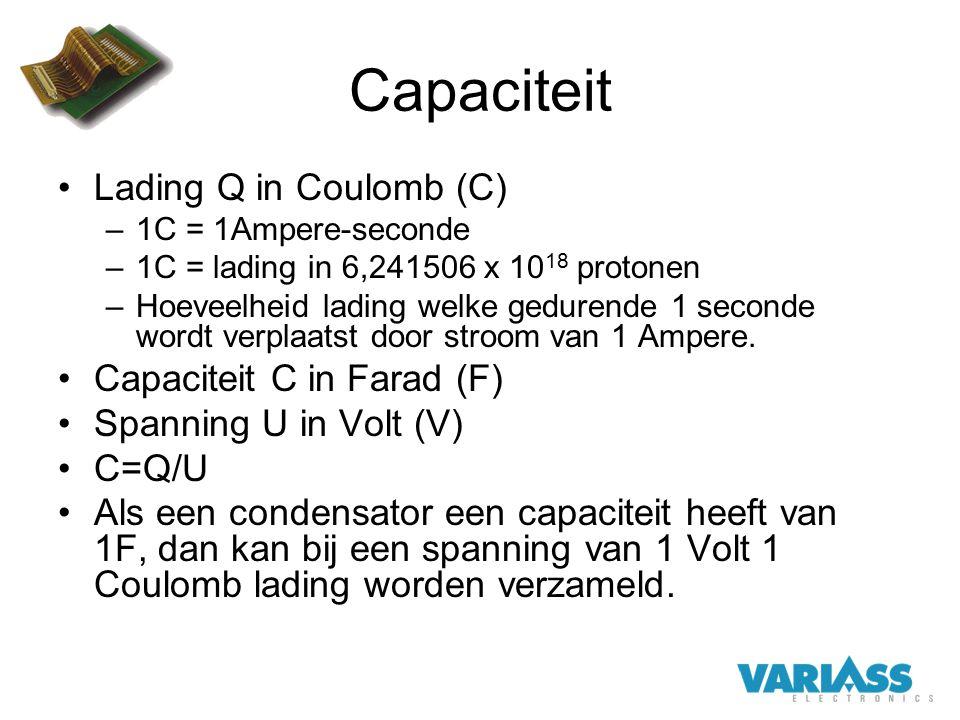 Capaciteit Lading Q in Coulomb (C) Capaciteit C in Farad (F)