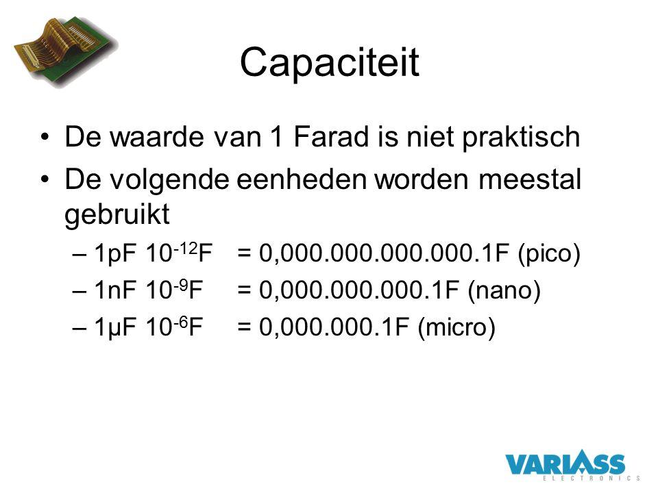 Capaciteit De waarde van 1 Farad is niet praktisch