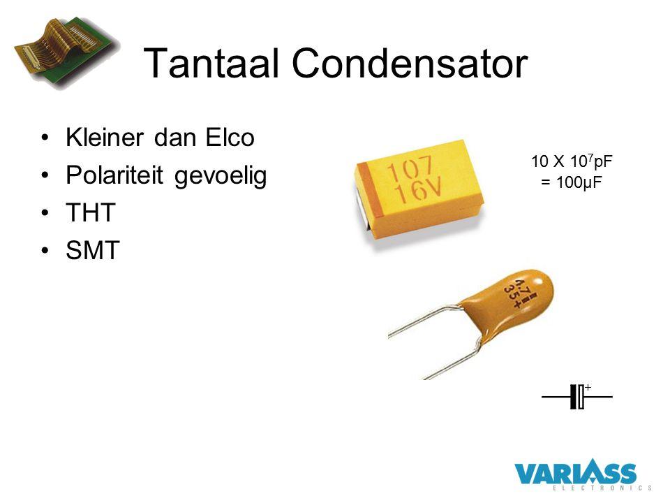 Tantaal Condensator Kleiner dan Elco Polariteit gevoelig THT SMT