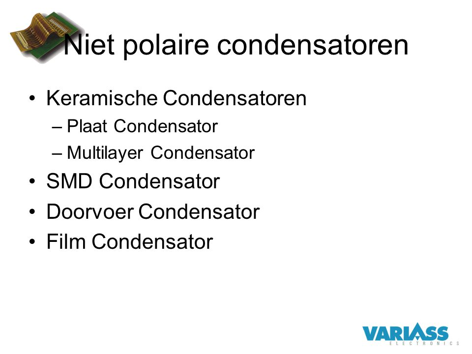 Niet polaire condensatoren