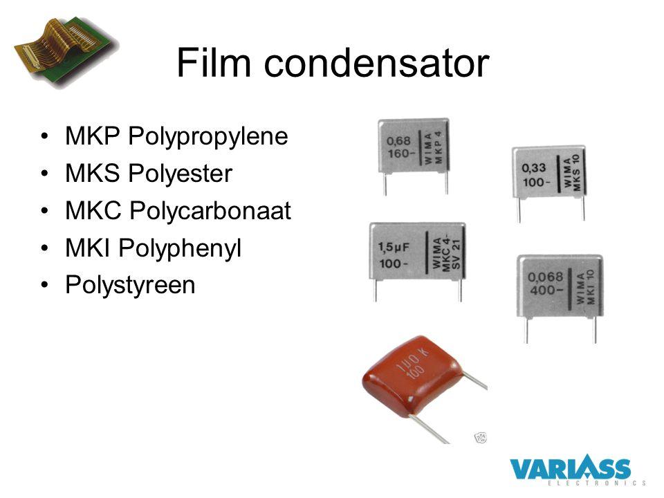 Film condensator MKP Polypropylene MKS Polyester MKC Polycarbonaat