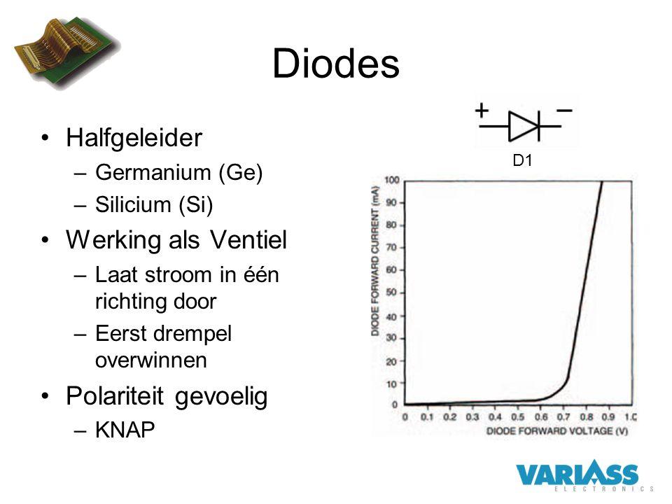 Diodes Halfgeleider Werking als Ventiel Polariteit gevoelig
