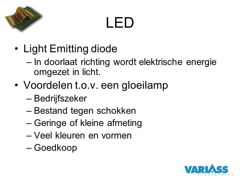 LED Light Emitting diode Voordelen t.o.v. een gloeilamp