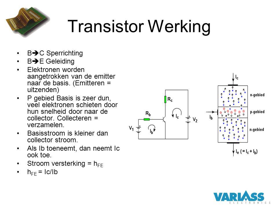 Transistor Werking BC Sperrichting BE Geleiding