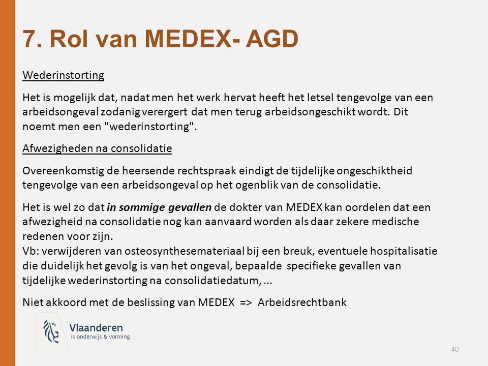 7. Rol van MEDEX- AGD Wederinstorting