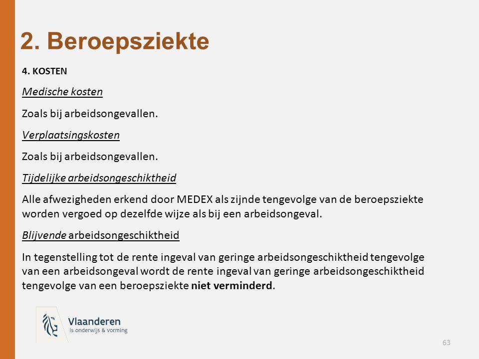 2. Beroepsziekte Medische kosten Zoals bij arbeidsongevallen.