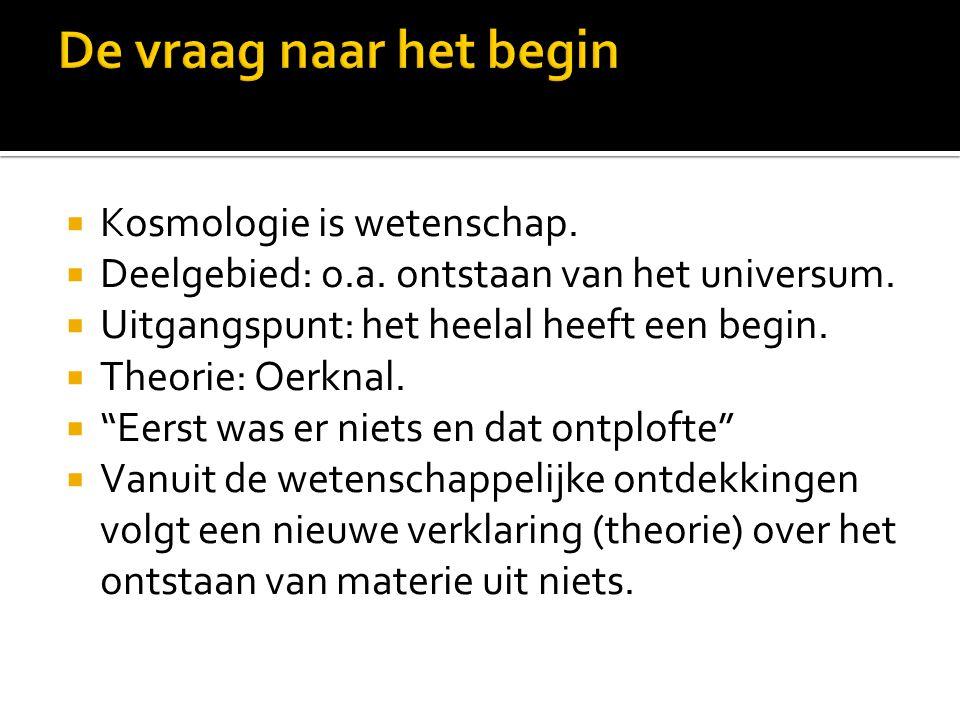 De vraag naar het begin Kosmologie is wetenschap.