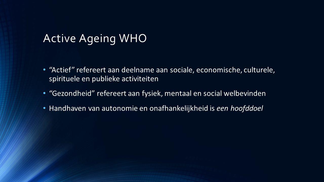 Active Ageing WHO Actief refereert aan deelname aan sociale, economische, culturele, spirituele en publieke activiteiten.
