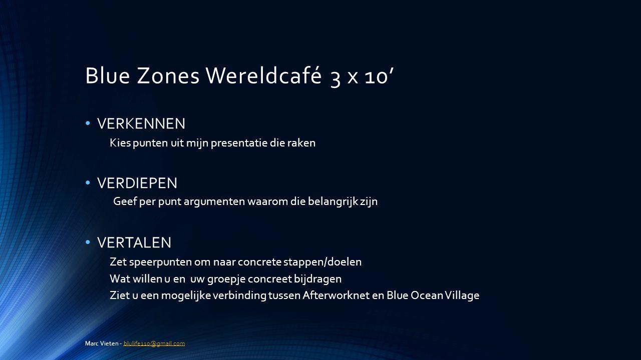 Blue Zones Wereldcafé 3 x 10'