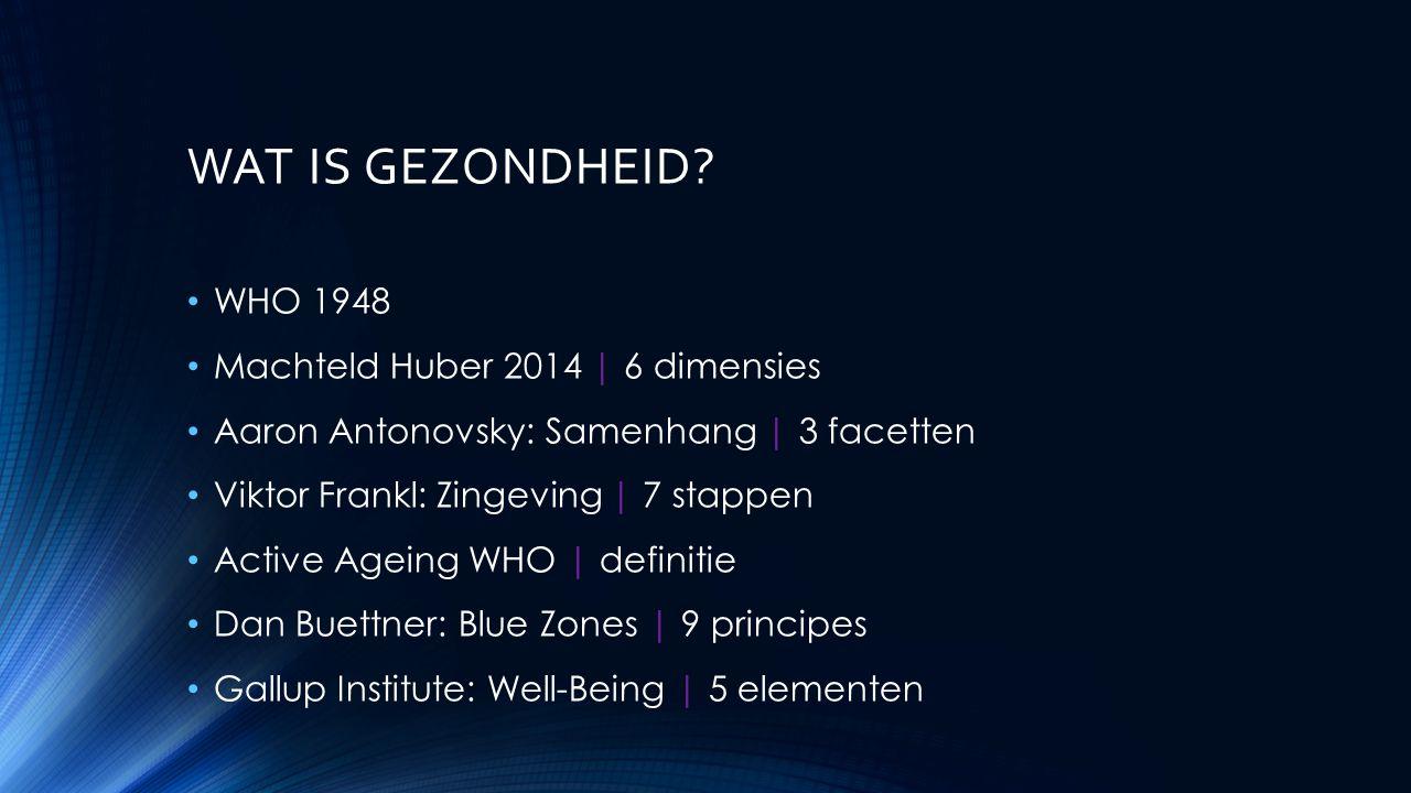 WAT IS GEZONDHEID WHO 1948 Machteld Huber 2014 | 6 dimensies