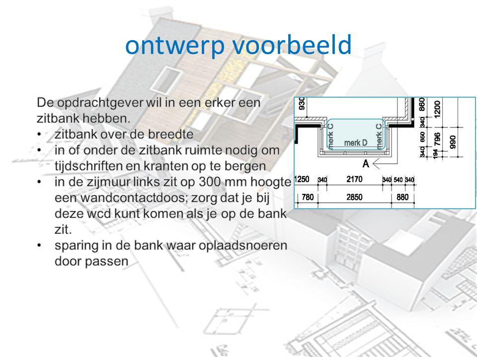 ontwerp voorbeeld De opdrachtgever wil in een erker een zitbank hebben. zitbank over de breedte.