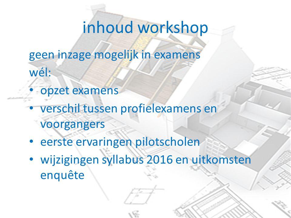 inhoud workshop geen inzage mogelijk in examens wél: opzet examens