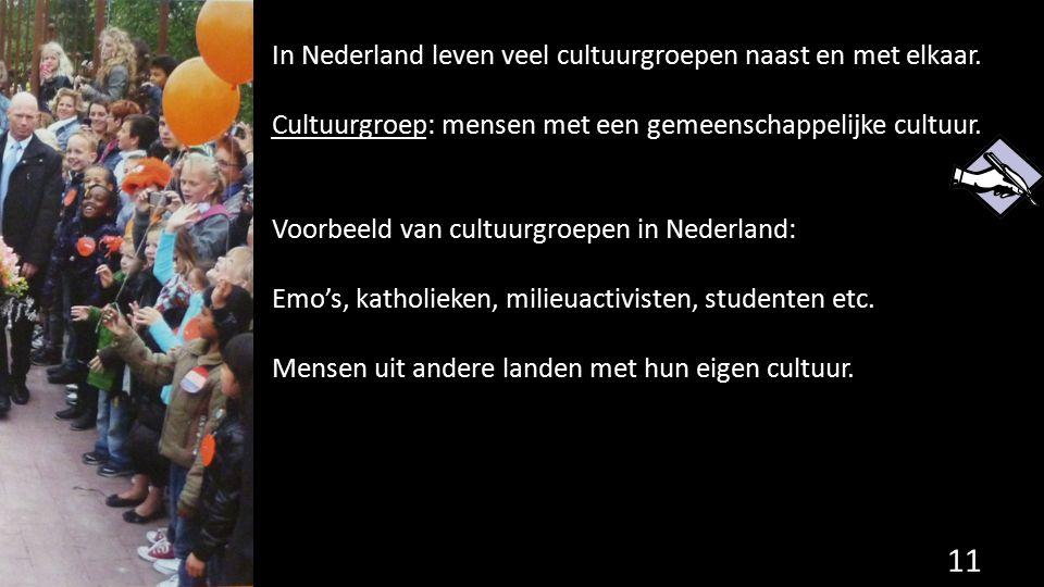 In Nederland leven veel cultuurgroepen naast en met elkaar.