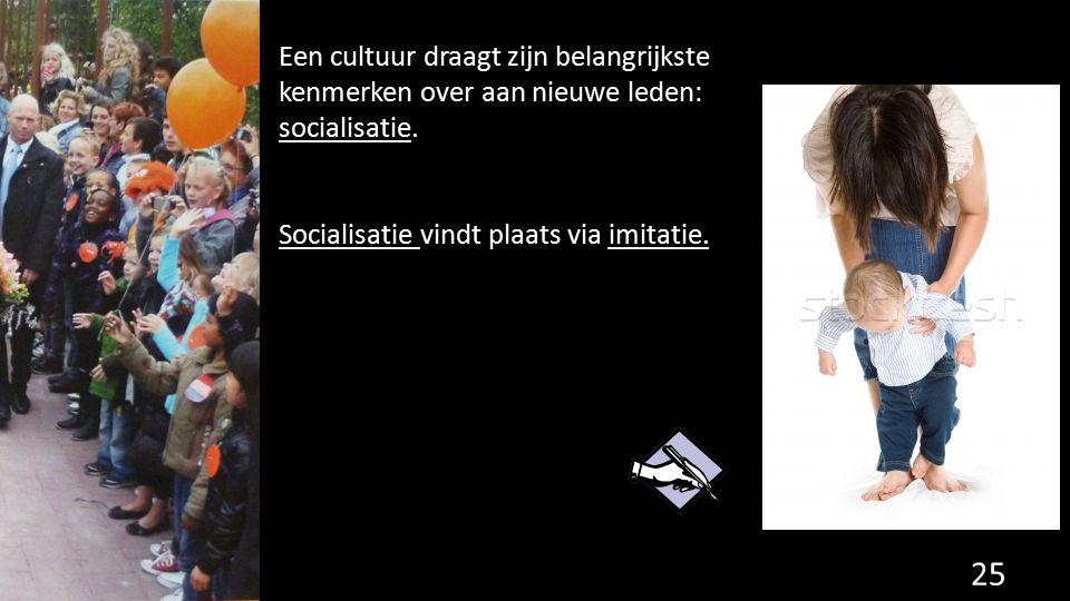 Een cultuur draagt zijn belangrijkste kenmerken over aan nieuwe leden: socialisatie.