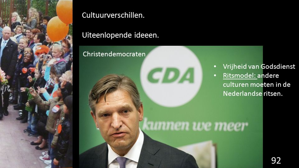 Cultuurverschillen. Uiteenlopende ideeen. Christendemocraten