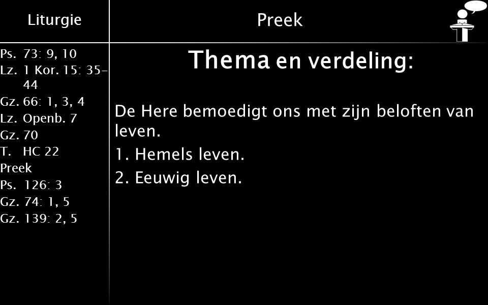 Thema en verdeling: Preek