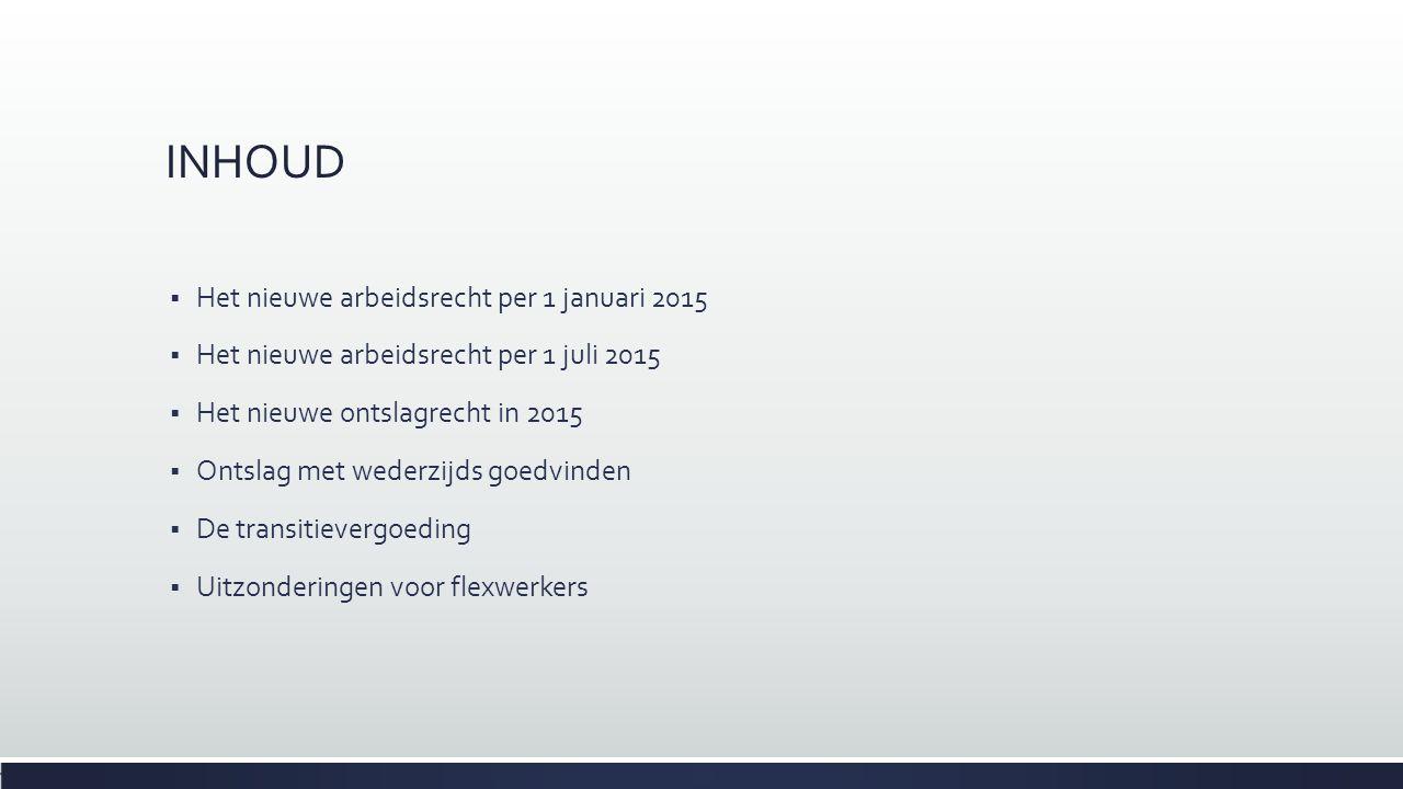 INHOUD Het nieuwe arbeidsrecht per 1 januari 2015
