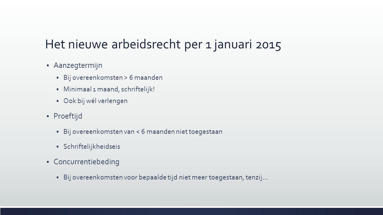Het nieuwe arbeidsrecht per 1 januari 2015