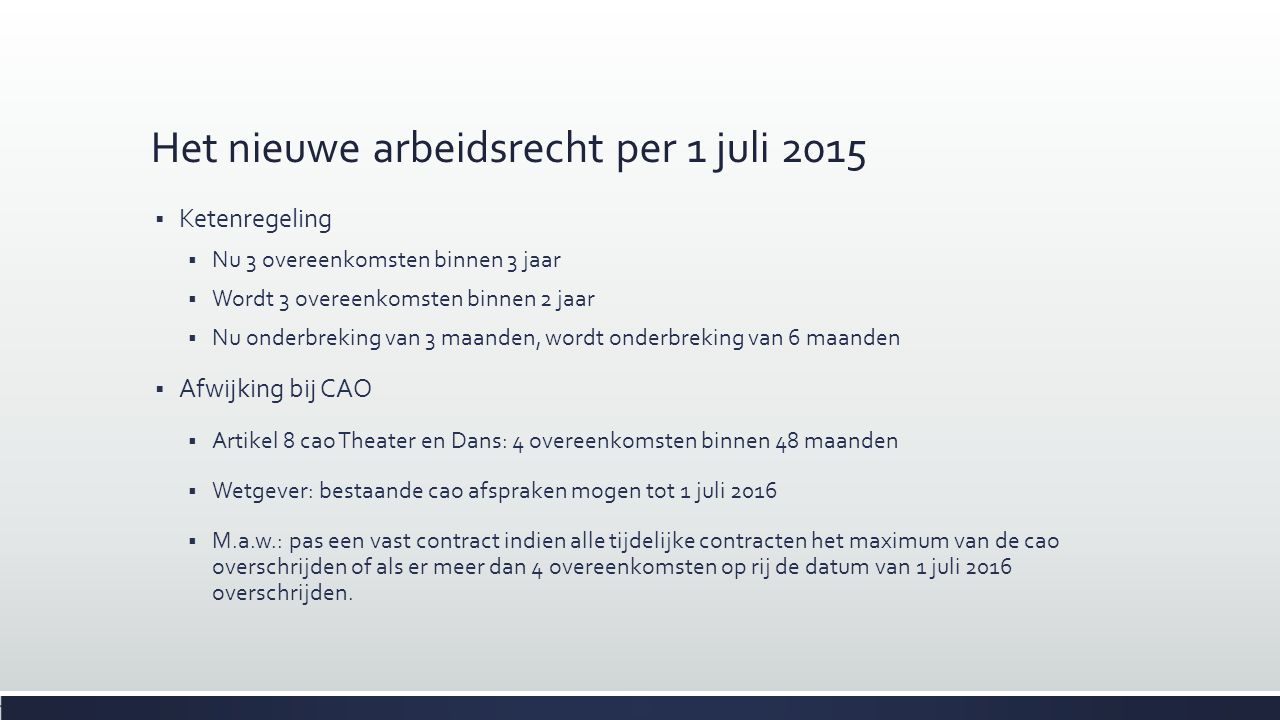 Het nieuwe arbeidsrecht per 1 juli 2015