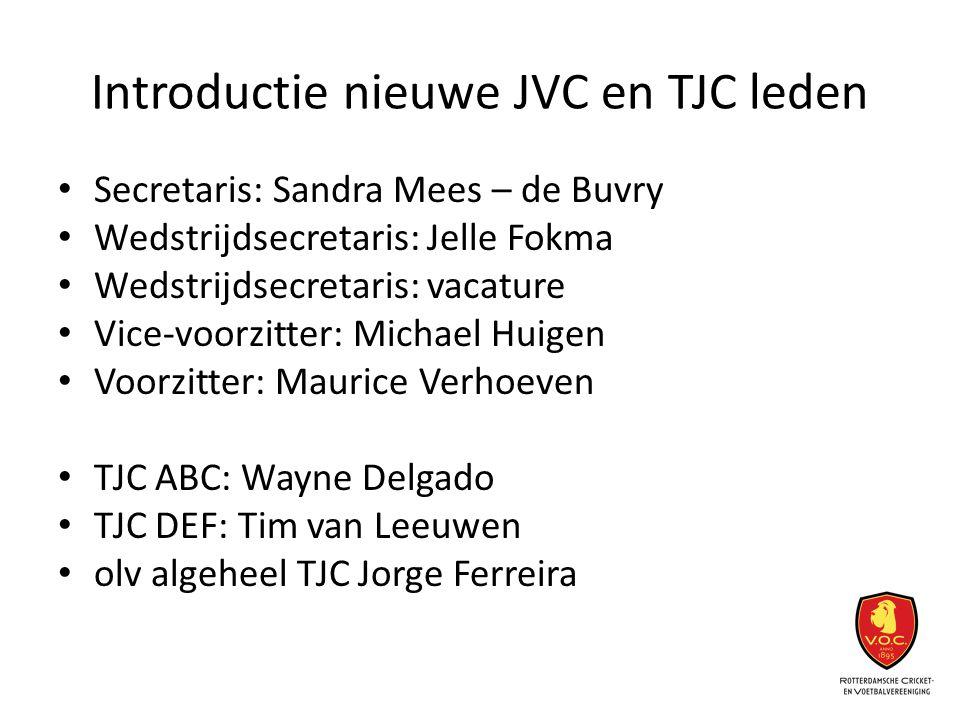 Introductie nieuwe JVC en TJC leden