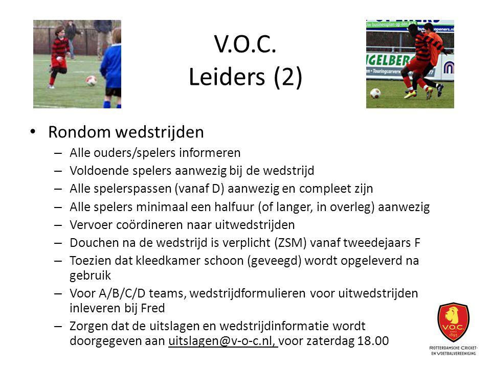 V.O.C. Leiders (2) Rondom wedstrijden Alle ouders/spelers informeren