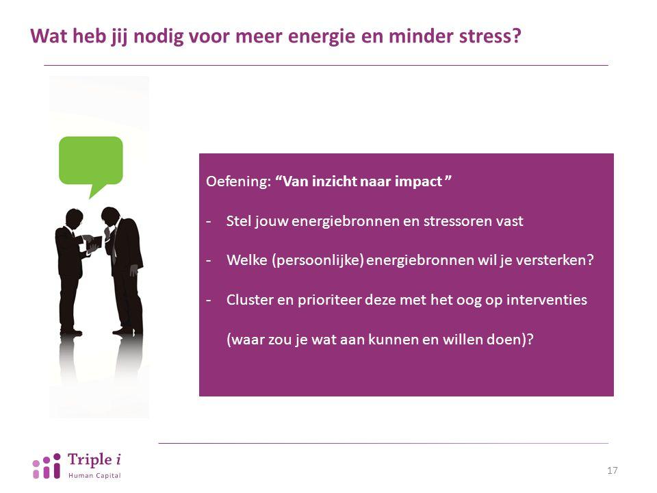 Wat heb jij nodig voor meer energie en minder stress
