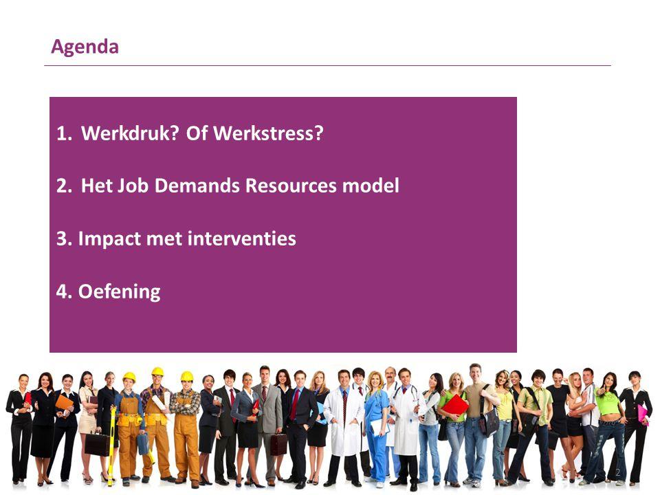 Agenda Werkdruk. Of Werkstress. Het Job Demands Resources model.