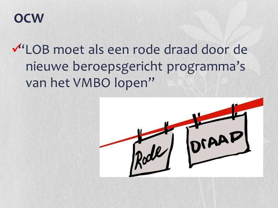 OCW LOB moet als een rode draad door de nieuwe beroepsgericht programma's van het VMBO lopen