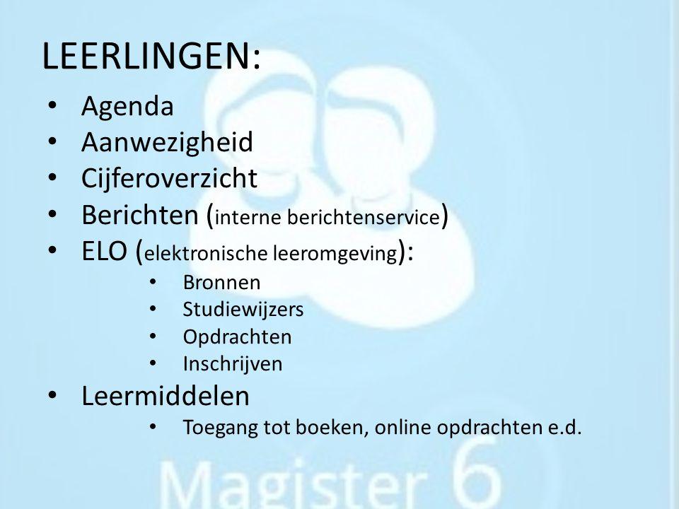 LEERLINGEN: Agenda Aanwezigheid Cijferoverzicht
