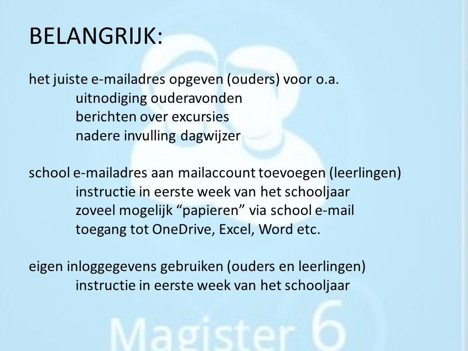 BELANGRIJK: het juiste e-mailadres opgeven (ouders) voor o. a
