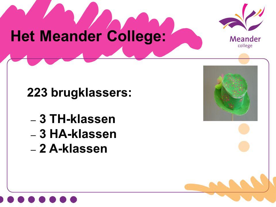 Het Meander College: 223 brugklassers: 3 TH-klassen 3 HA-klassen