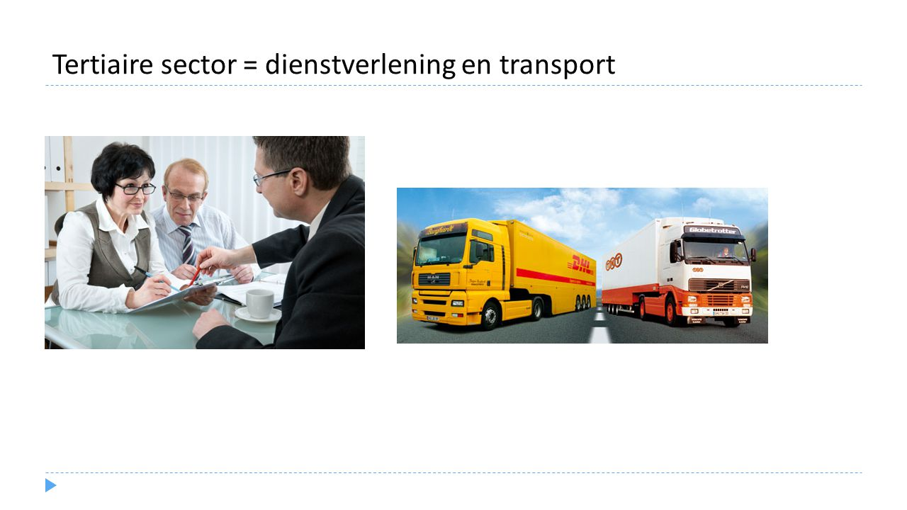 Tertiaire sector = dienstverlening en transport